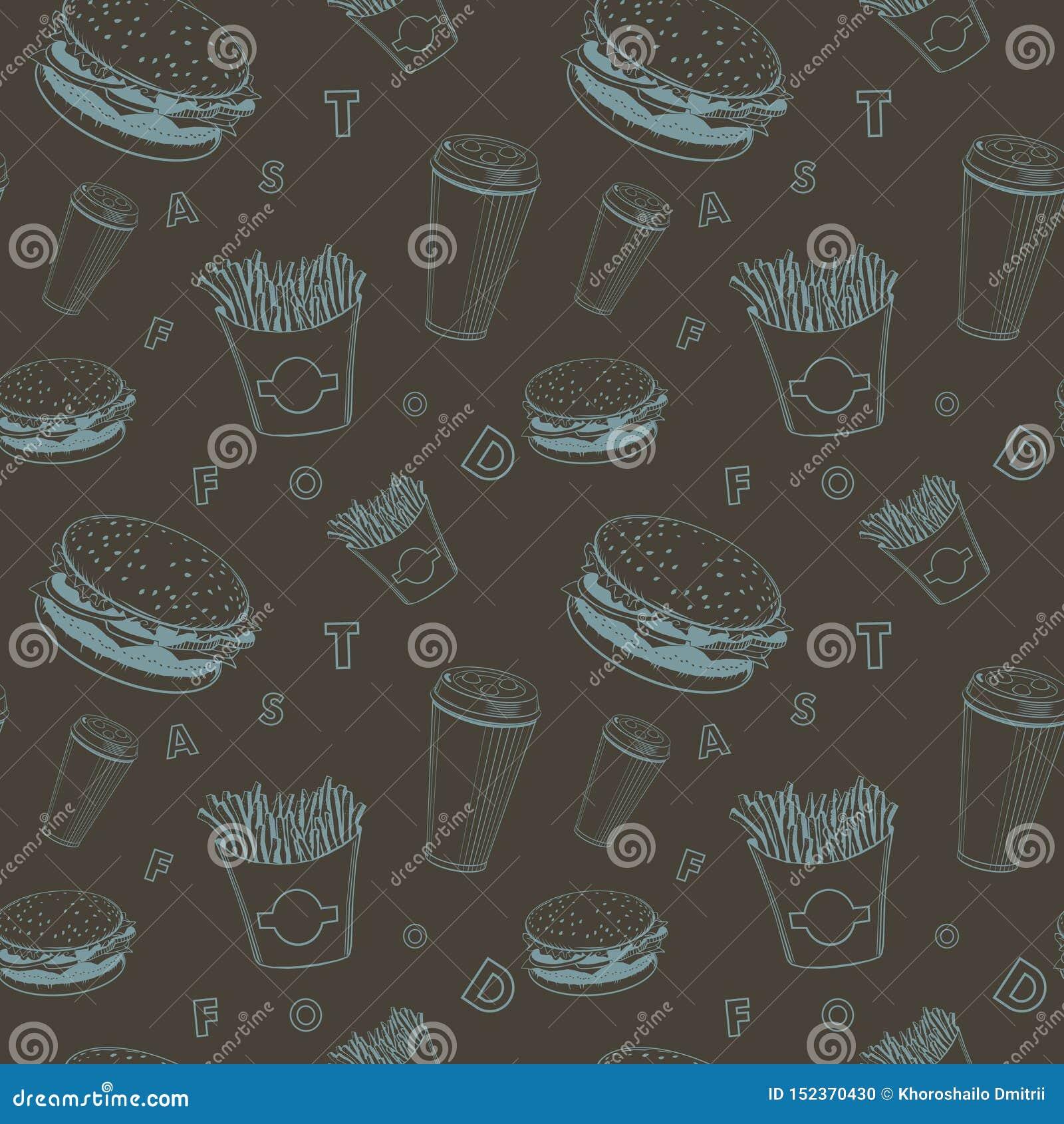 咖啡馆食物传染媒介设置了黑和蓝色快餐组合图案样式