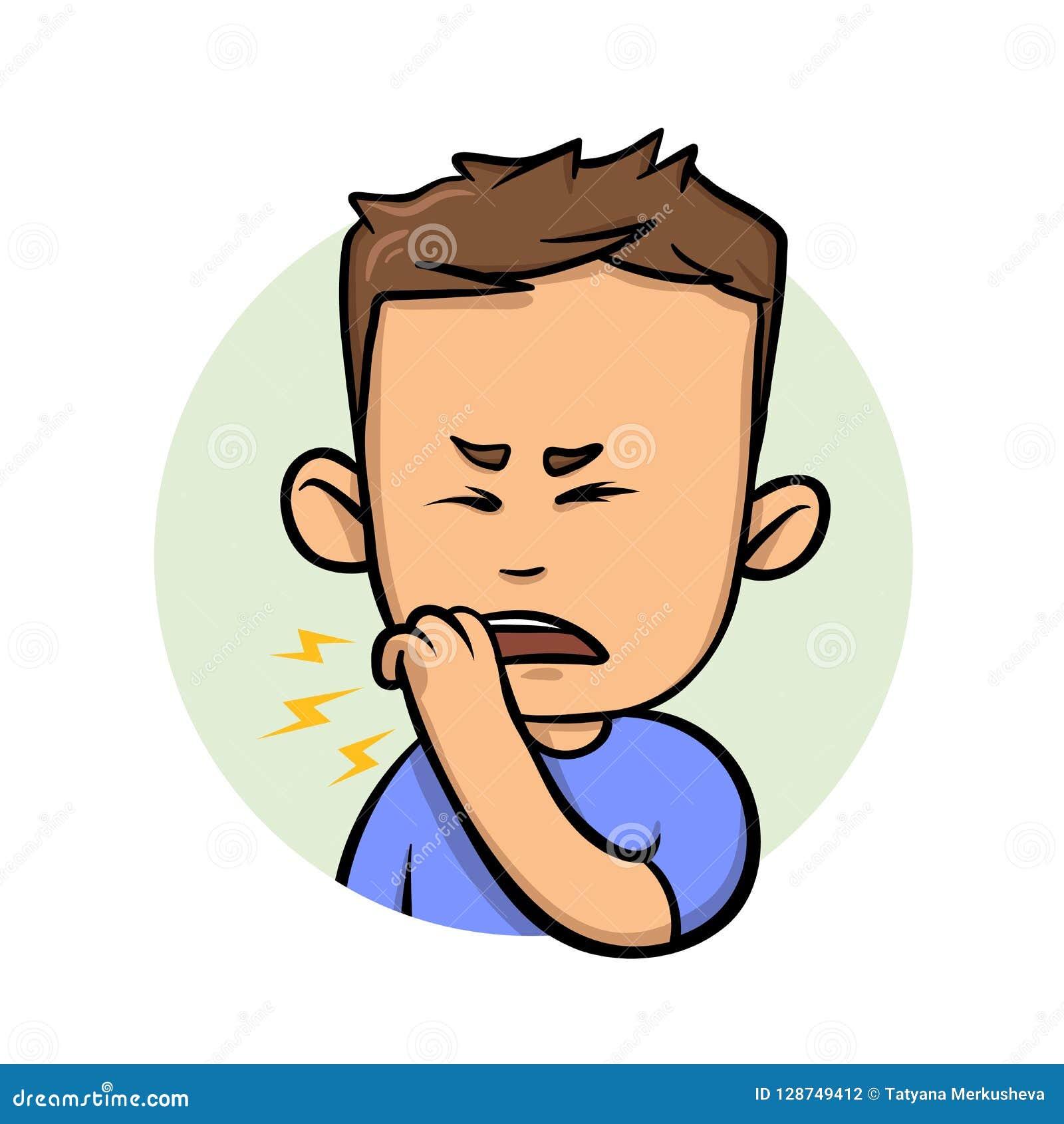 咳嗽与在嘴前面的拳头的年轻人 平的设计象 平的传染媒介例证 背景查出的白色