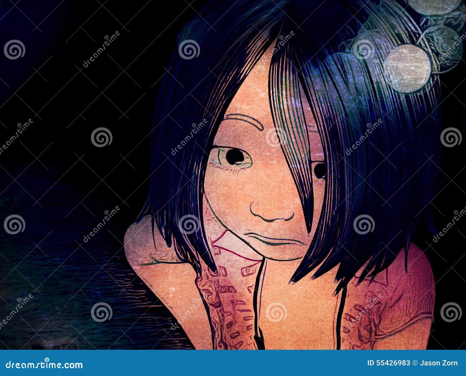 年轻哀伤的女孩动画片图画