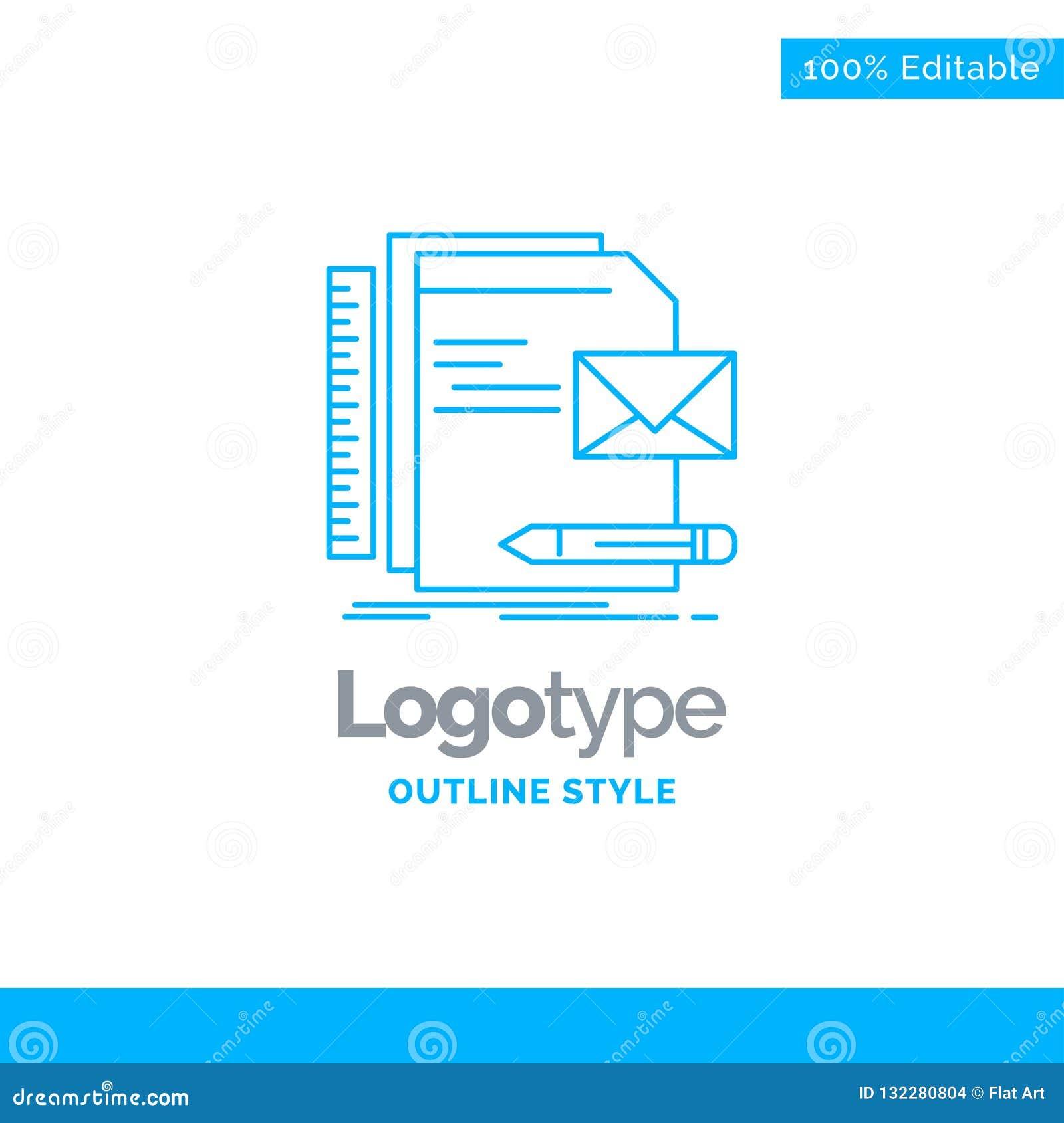 品牌的,公司,身分,信件,presentat蓝色商标设计