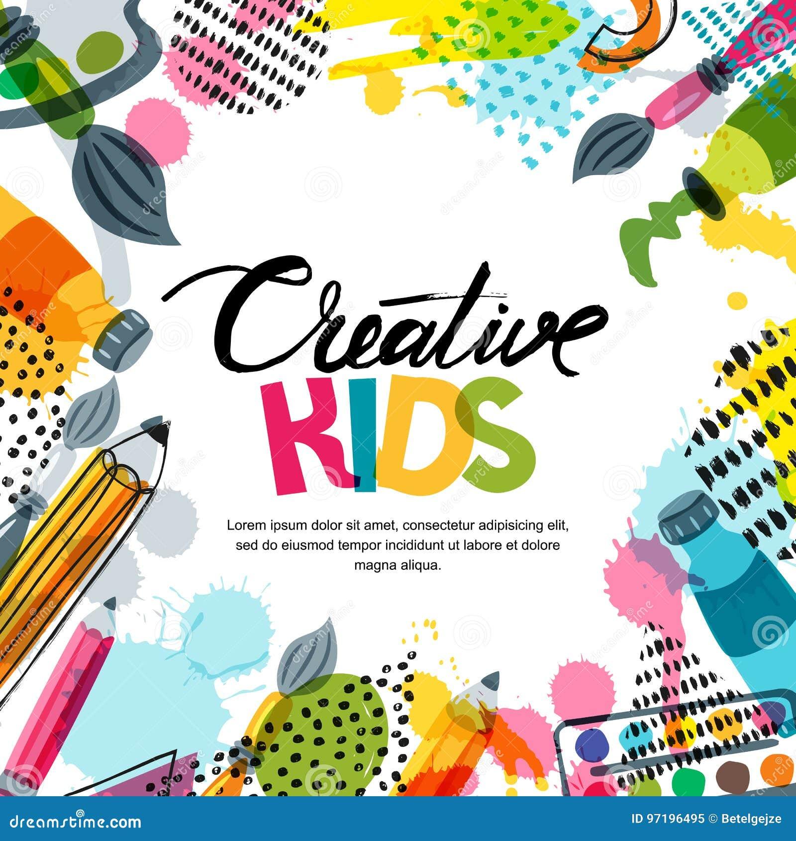 哄骗艺术,教育,创造性类概念 导航横幅,与书法的海报背景,铅笔,刷子,油漆