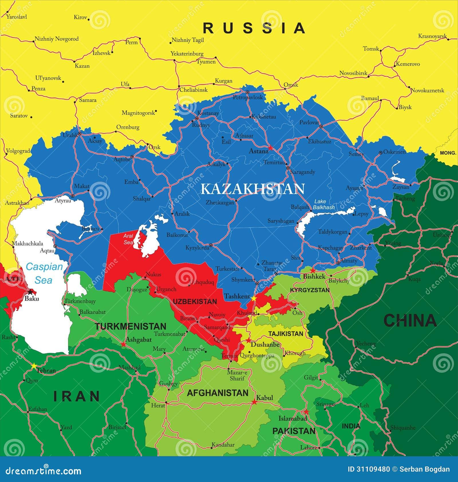 高度哈萨克斯坦详细的传染媒介地图有行政区,主要城市和路的.图片