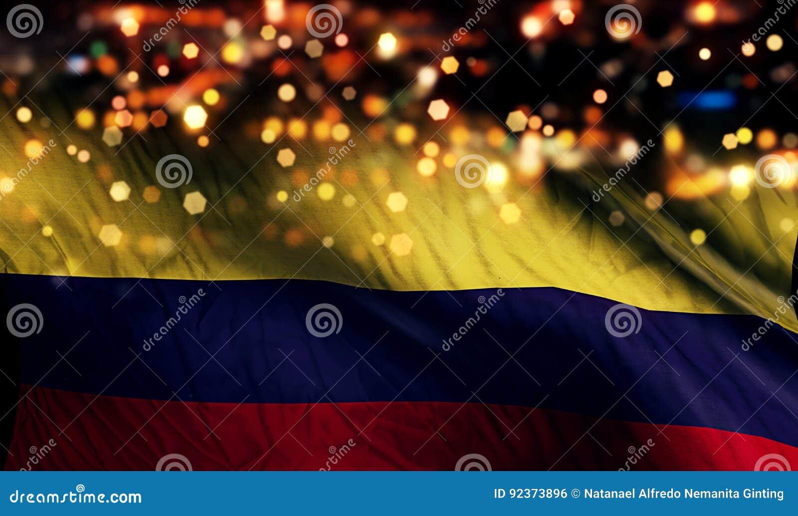哥伦比亚国旗光夜Bokeh摘要背景