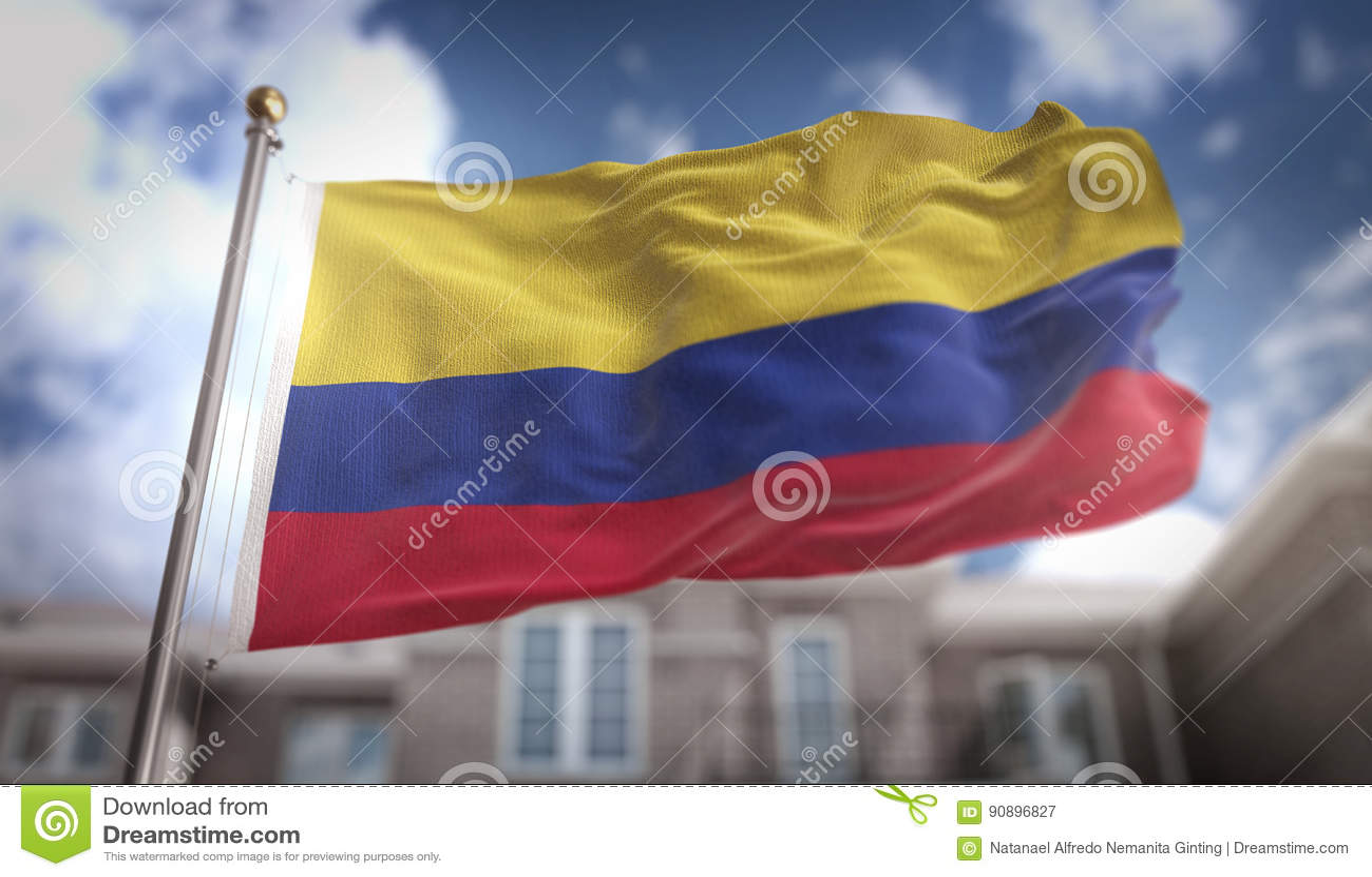 哥伦比亚在蓝天大厦背景的旗子3D翻译
