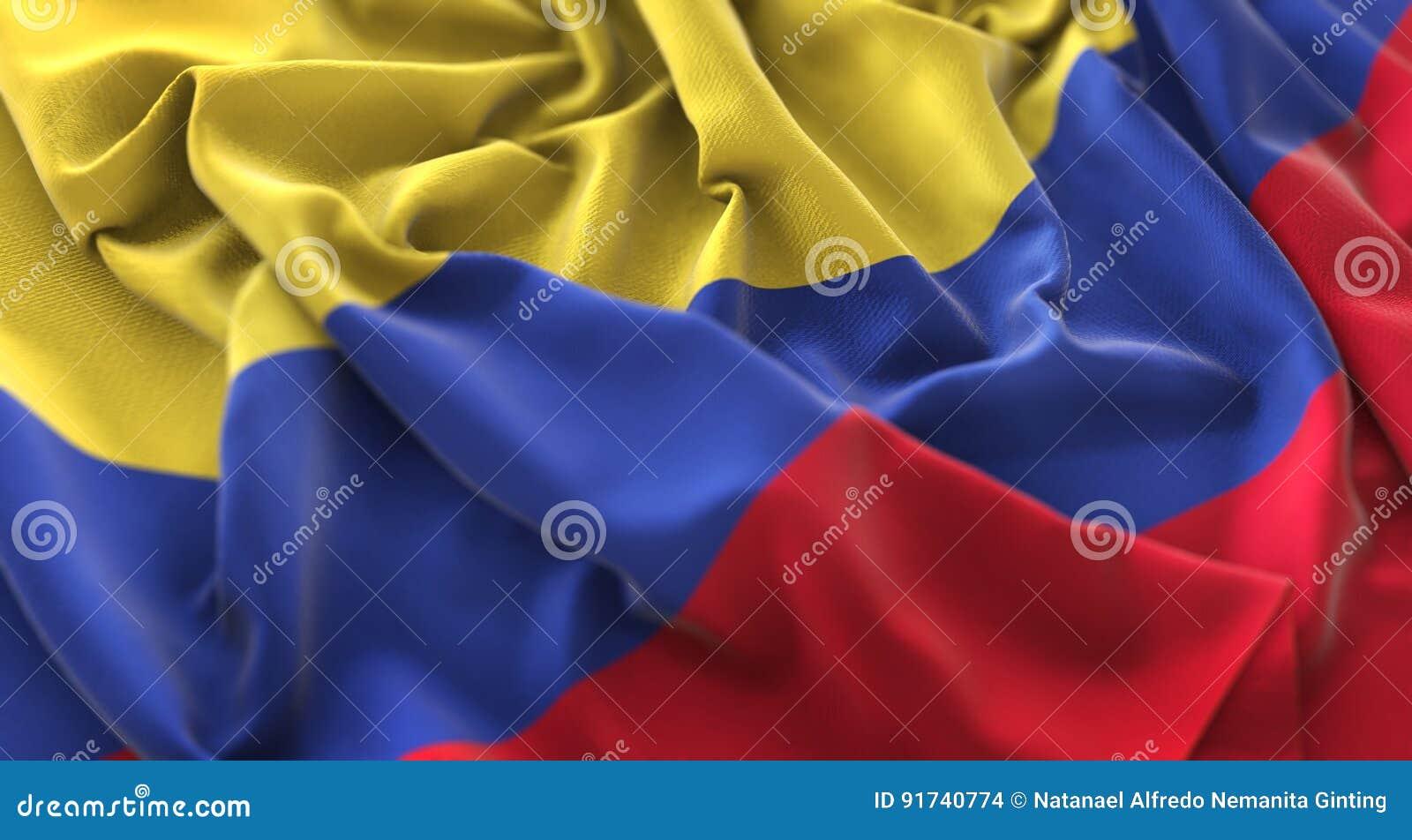 哥伦比亚旗子被翻动的美妙地挥动的宏观特写镜头射击