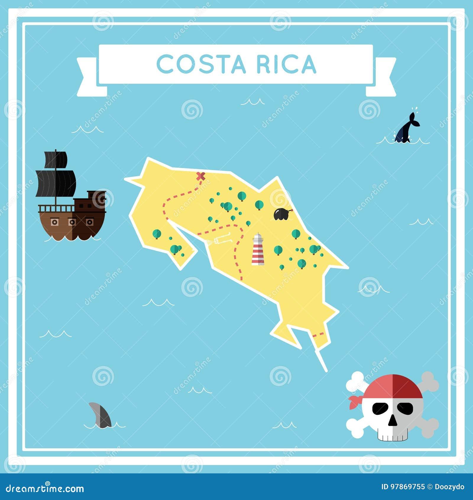哥斯达黎加的平的珍宝地图