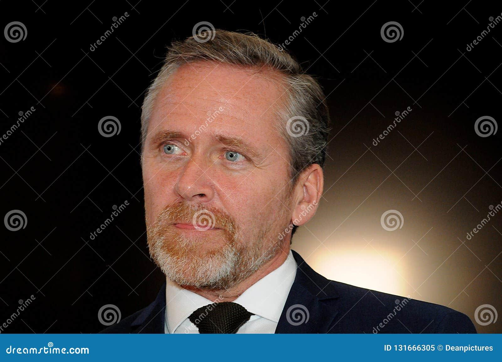 哥本哈根/丹麦15 2018年11月 丹麦的三位部长外交事务的安德斯Samuelsen丹麦部长大臣为
