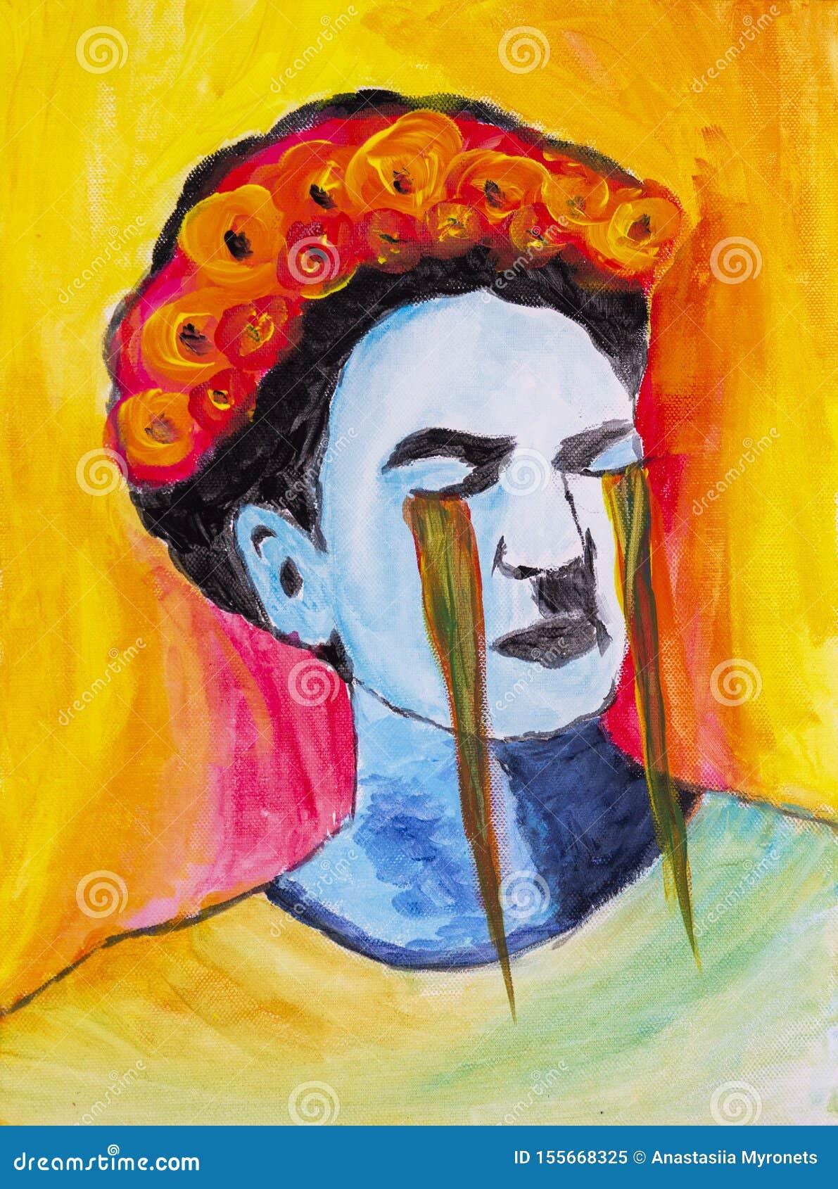 哭泣的芙烈达・卡萝绘了与丙烯酸酯