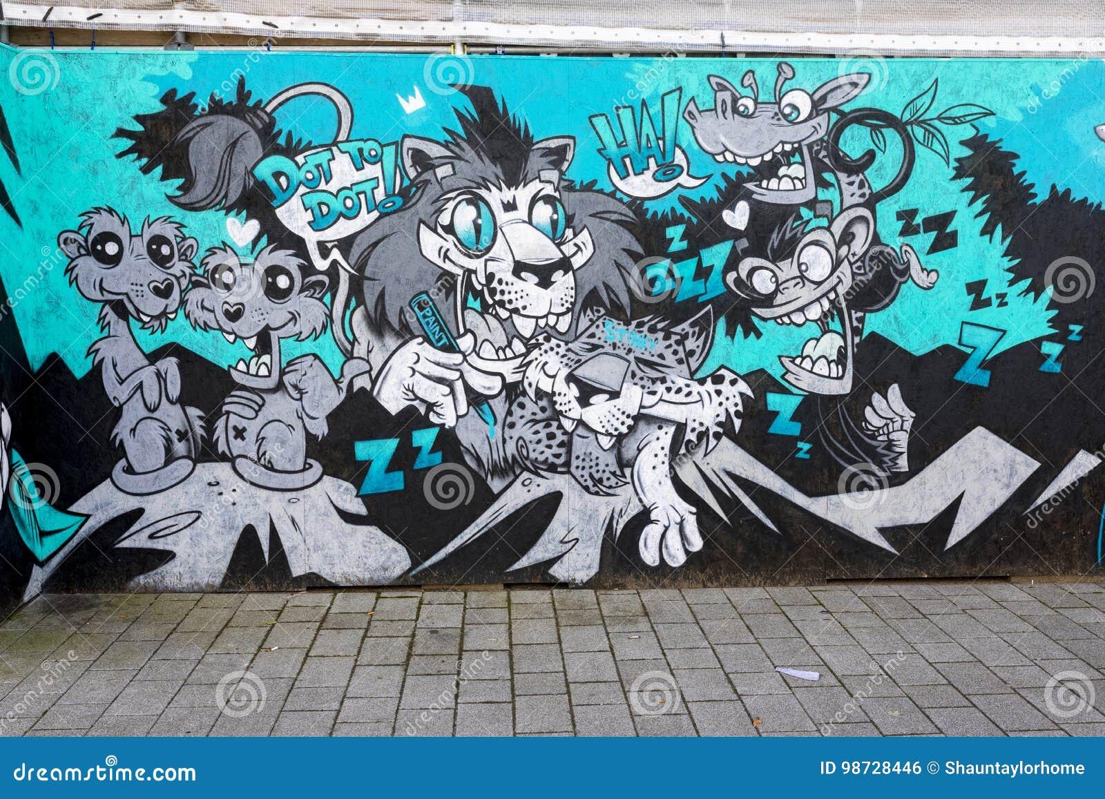 唐卡斯特街道艺术墙壁上的疯狂的动物