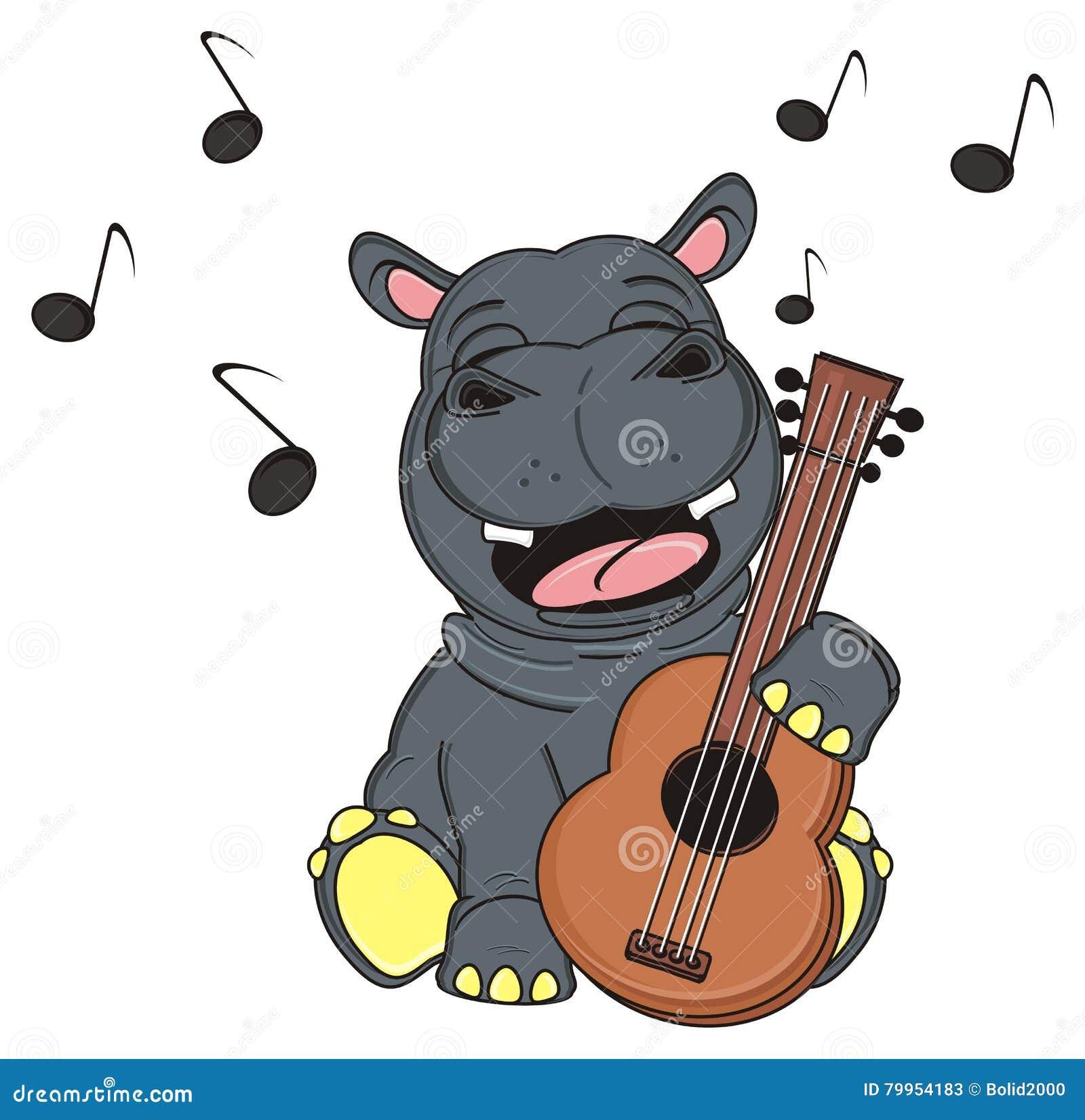 唱歌与木吉他的愉快的河马