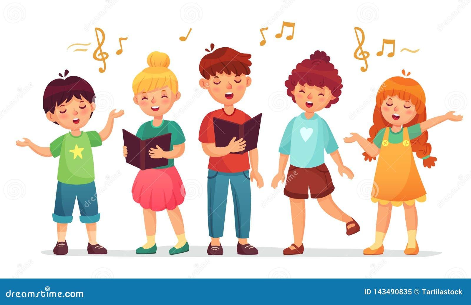 唱歌的孩子 音乐学校、孩子声音小组和孩子歌唱唱动画片传染媒介例证