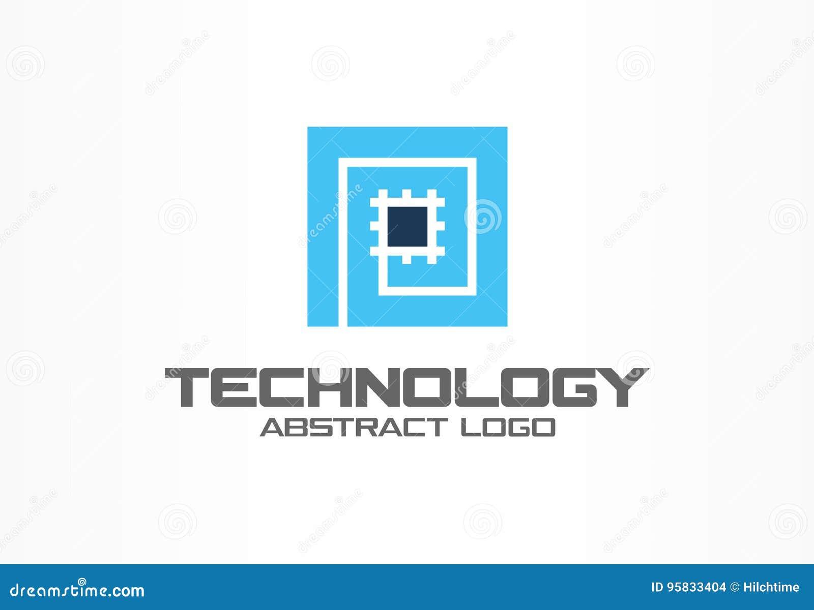商业公司的抽象商标 公司本体设计元素 CPU,处理器,芯片,主板略写法想法
