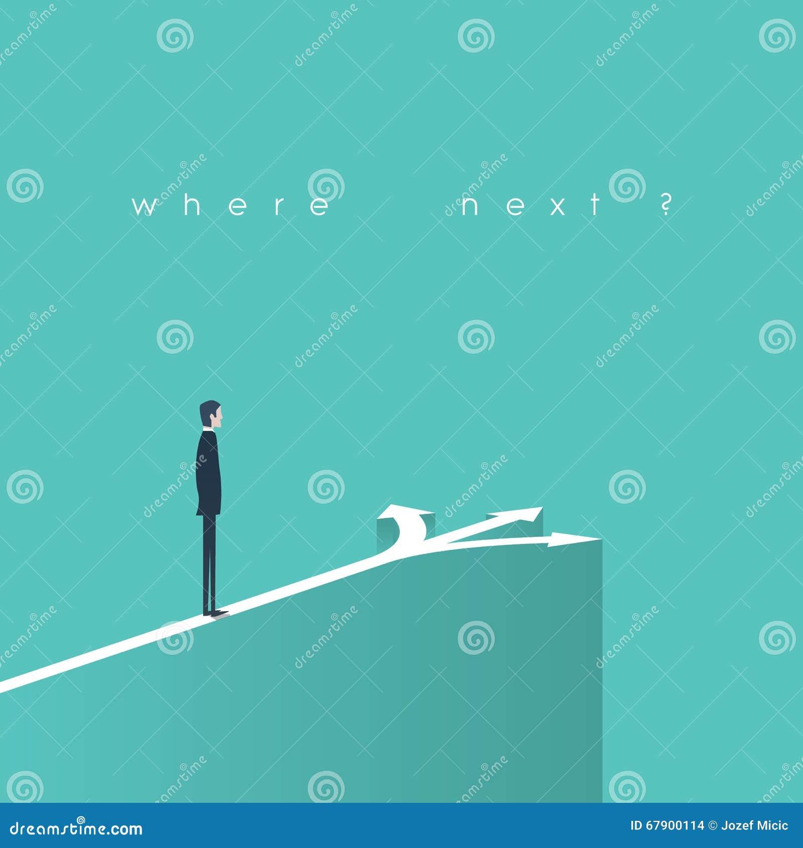 商业决策概念例证 商人并肩作战在箭头前面的象选择的标志,事业或