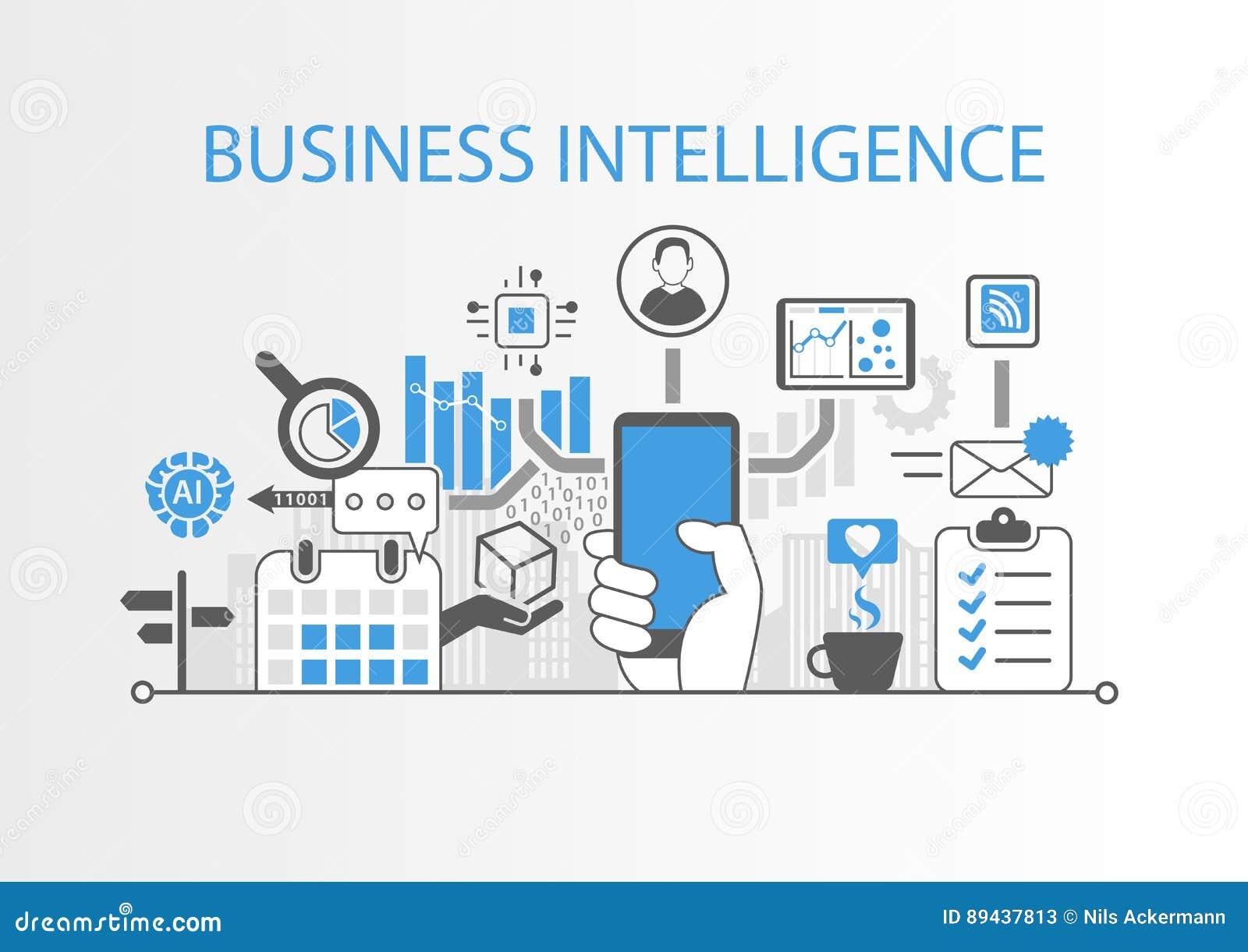 商业情报概念当与各种各样的标志的背景例证