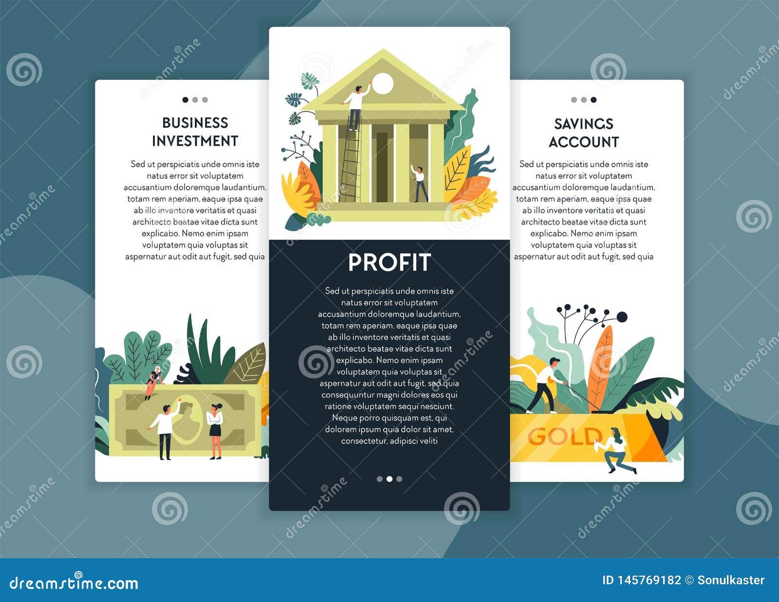 商业投资和赢利储蓄账户网页模板