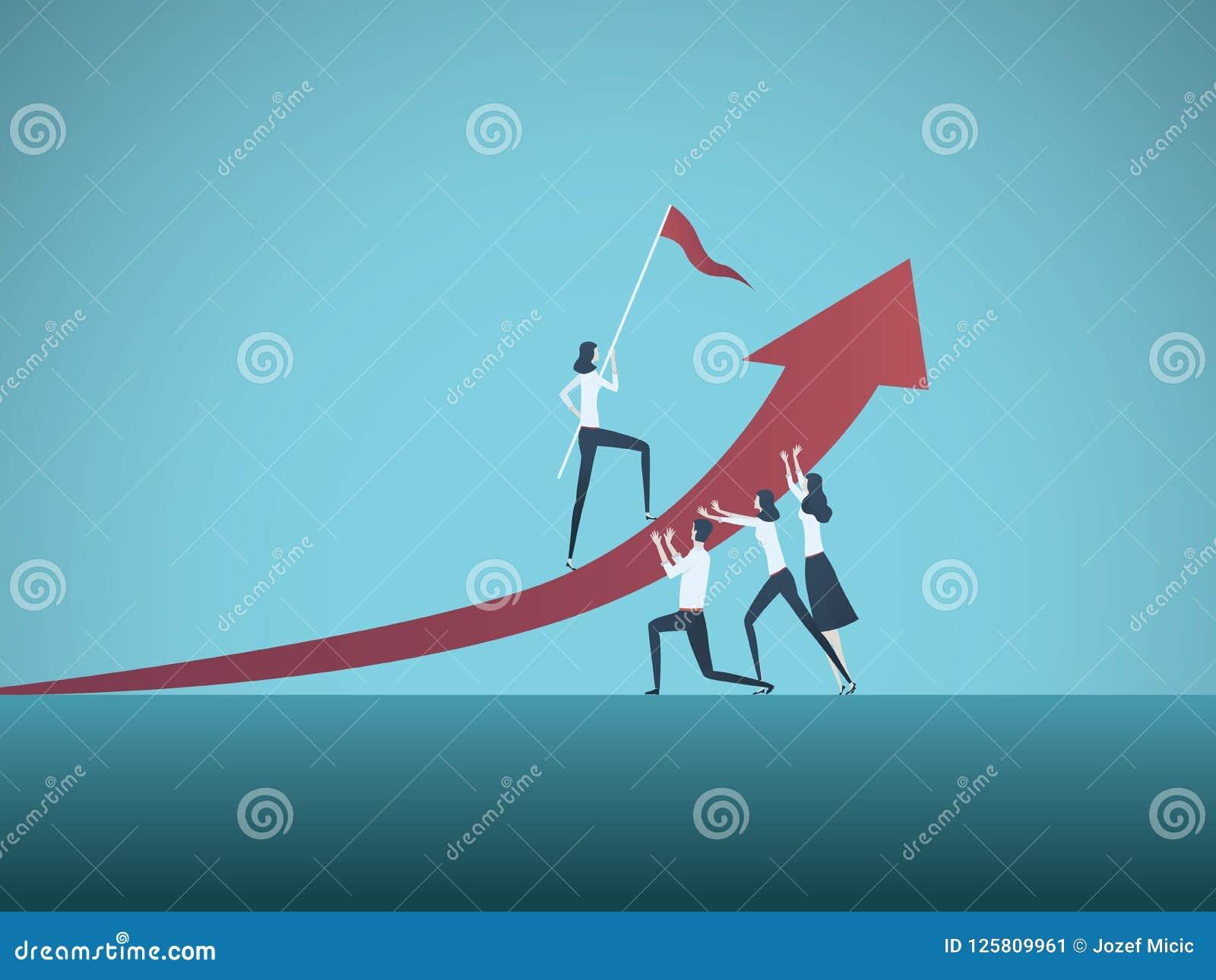 商业目的、目标或者目标传染媒介概念 的商人队 成长,配合的标志