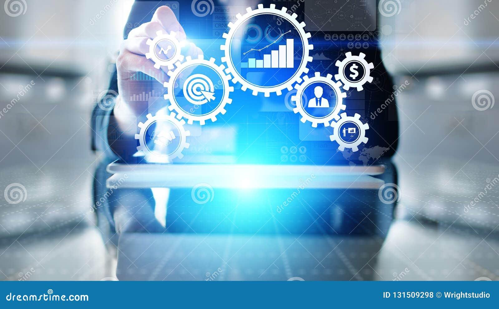 商业运作管理自动化工作流,文件检验,用象,技术概念连接了齿轮嵌齿轮