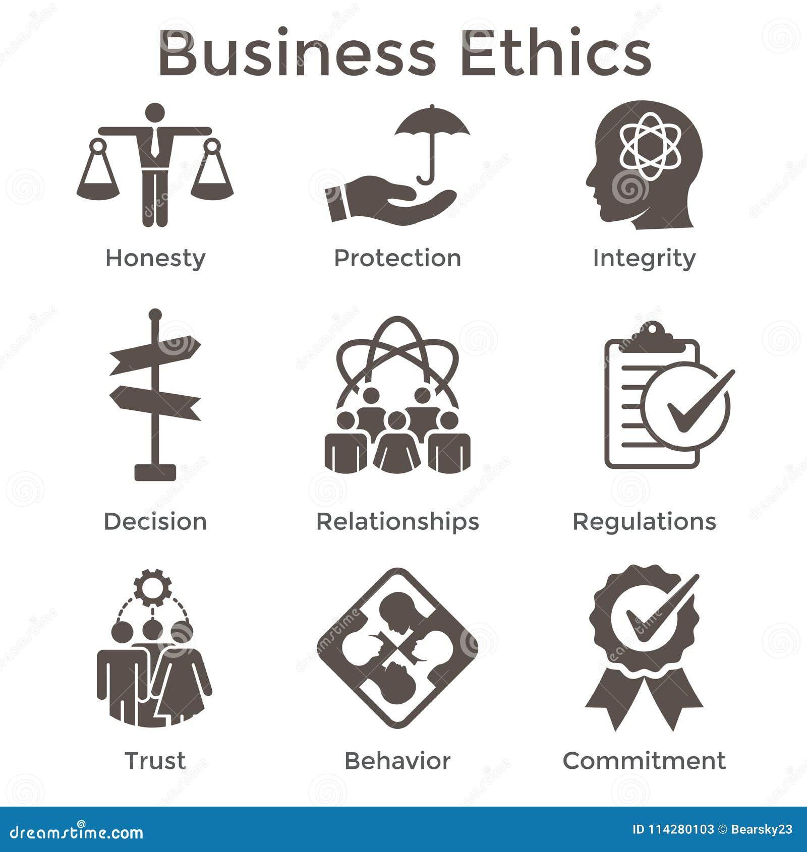 商业道德坚实象设置与诚实,正直, Commitme