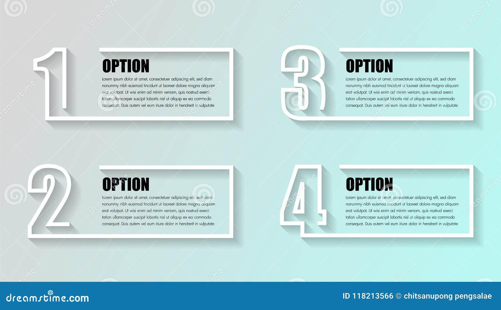 商业Infographics 与4个箱子的时间安排,步,数字选择 传染媒介infographic元素以图例解释者