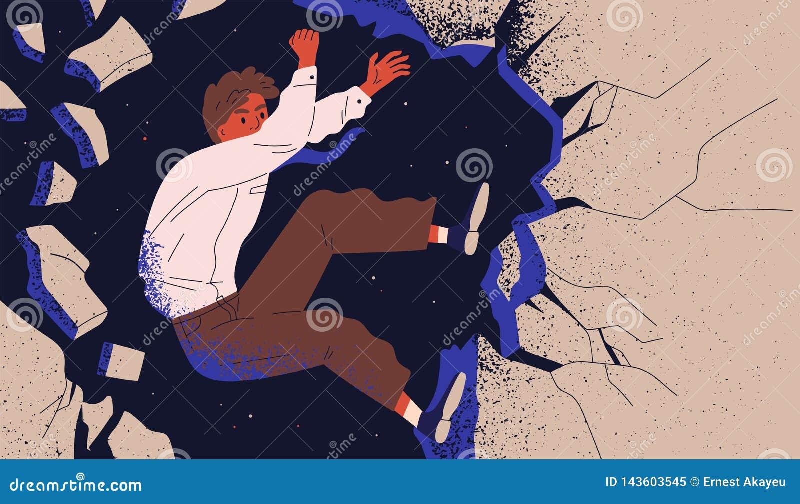 商人、男性掉下的办公室工作者或者的雇员攀登峭壁和 专业彻底失败,事业的概念