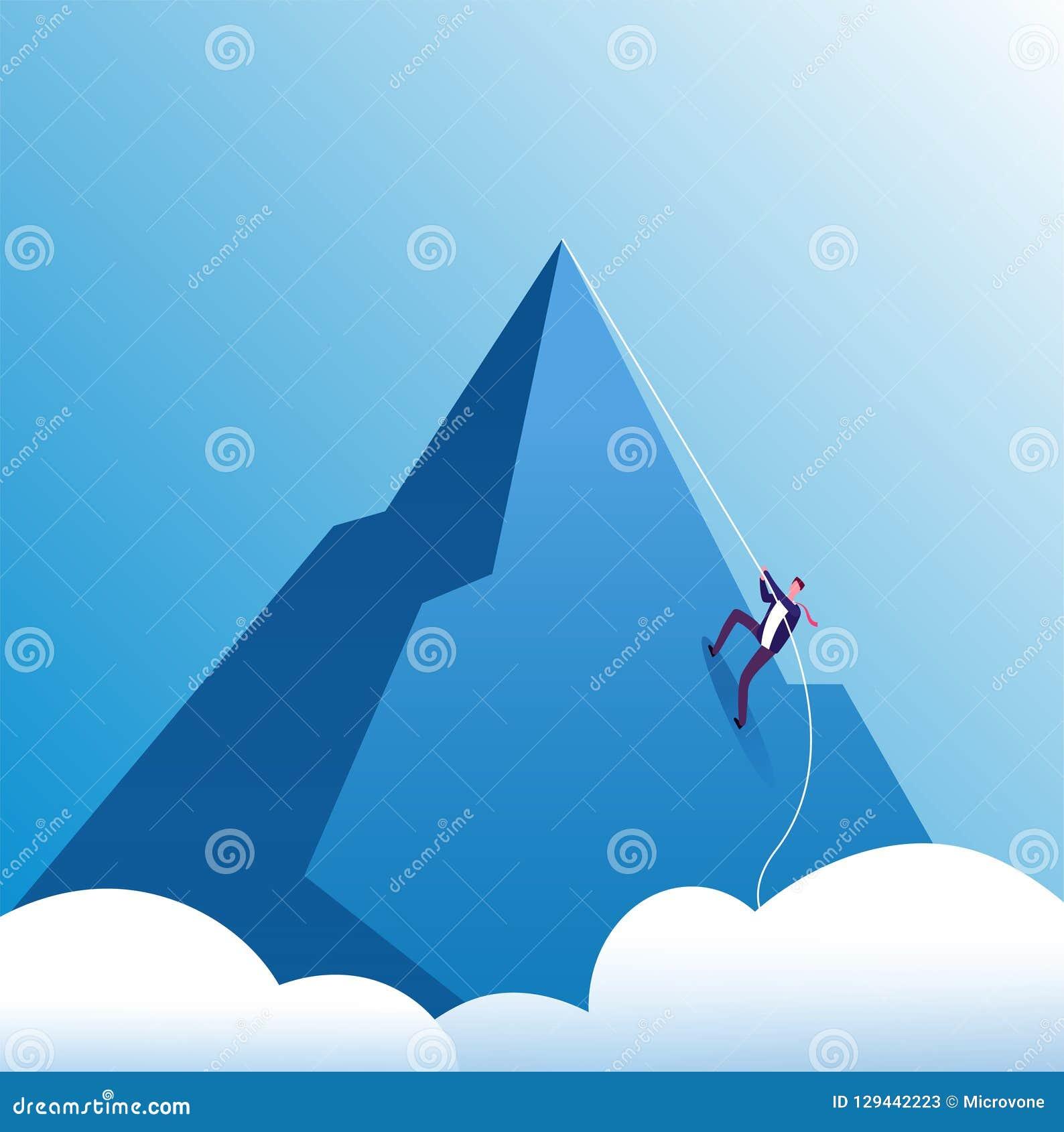 商人上升的山 挑战、坚持不懈和个人成长,在事业的努力 企业刺激传染媒介