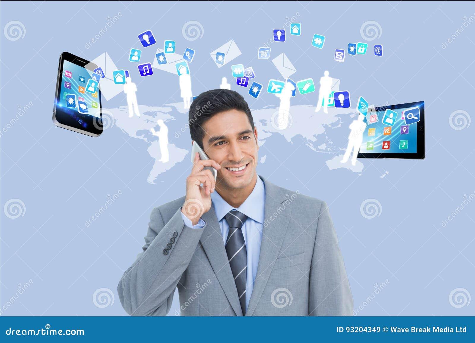商人叫反对应用象、智能手机和片剂计算机背景