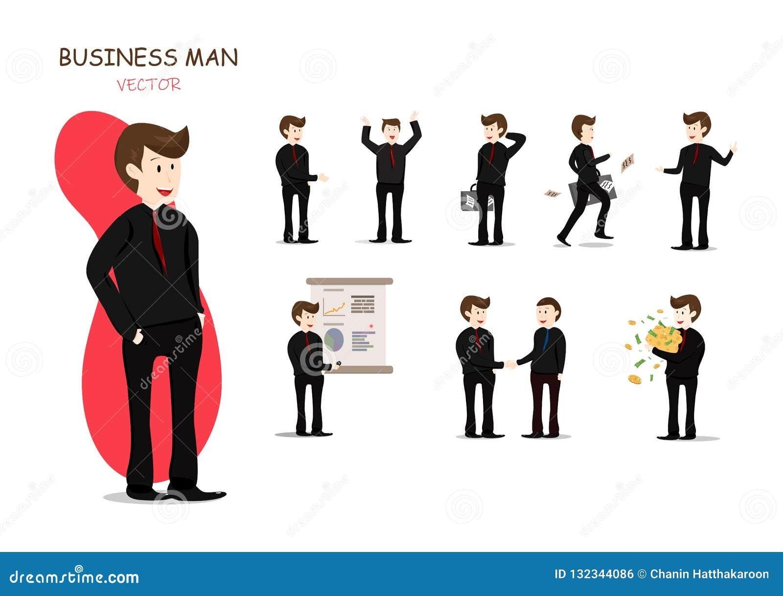 商人和他的工作,介绍,运作传染媒介的字符,动画片汇集