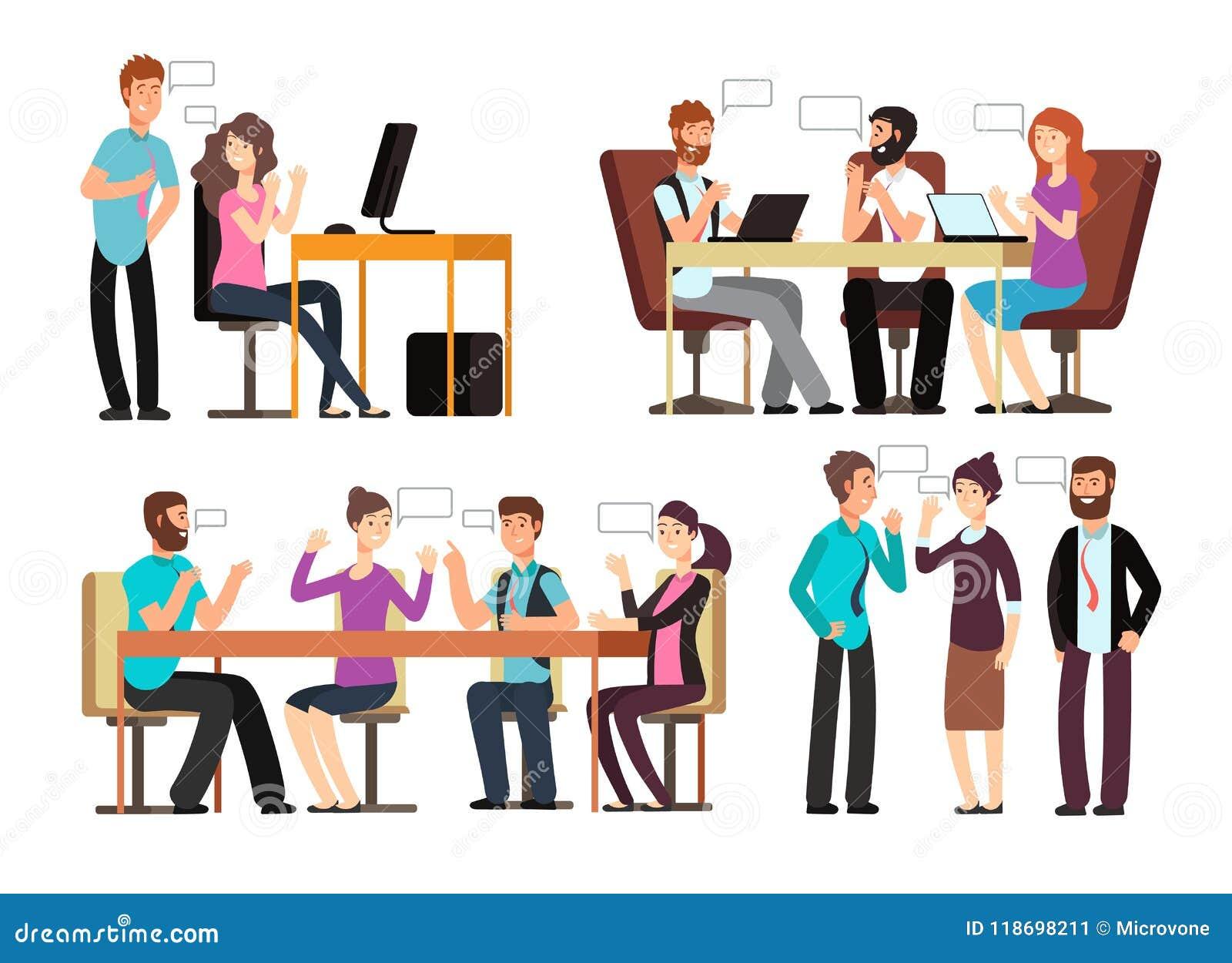 商人和妇女有交谈用不同的经济情况在办公室 遇见传染媒介字符的人们被设置