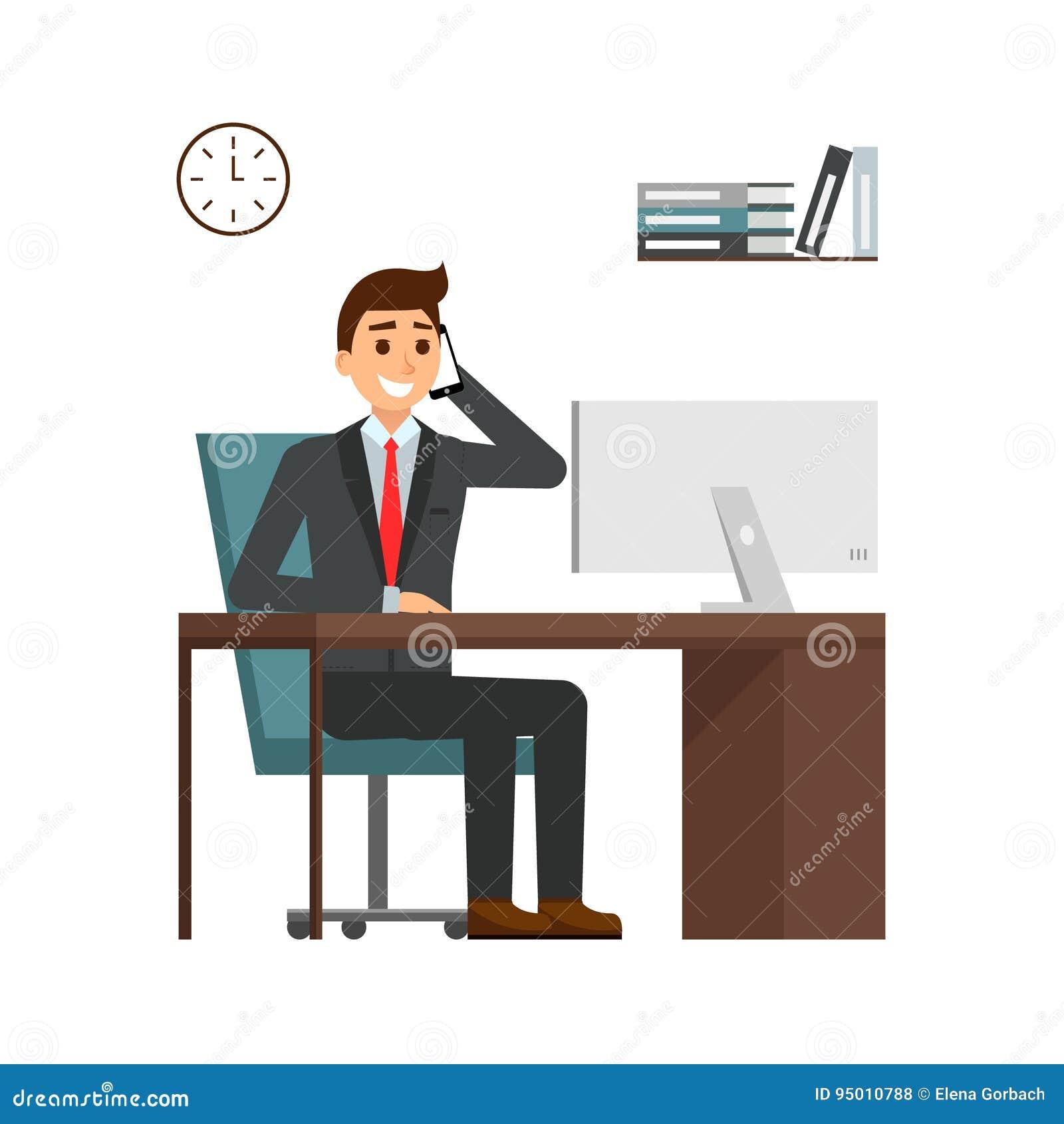商人在书桌在明亮的办公室,谈话坐手机和微笑 动画片在衣服的人字符