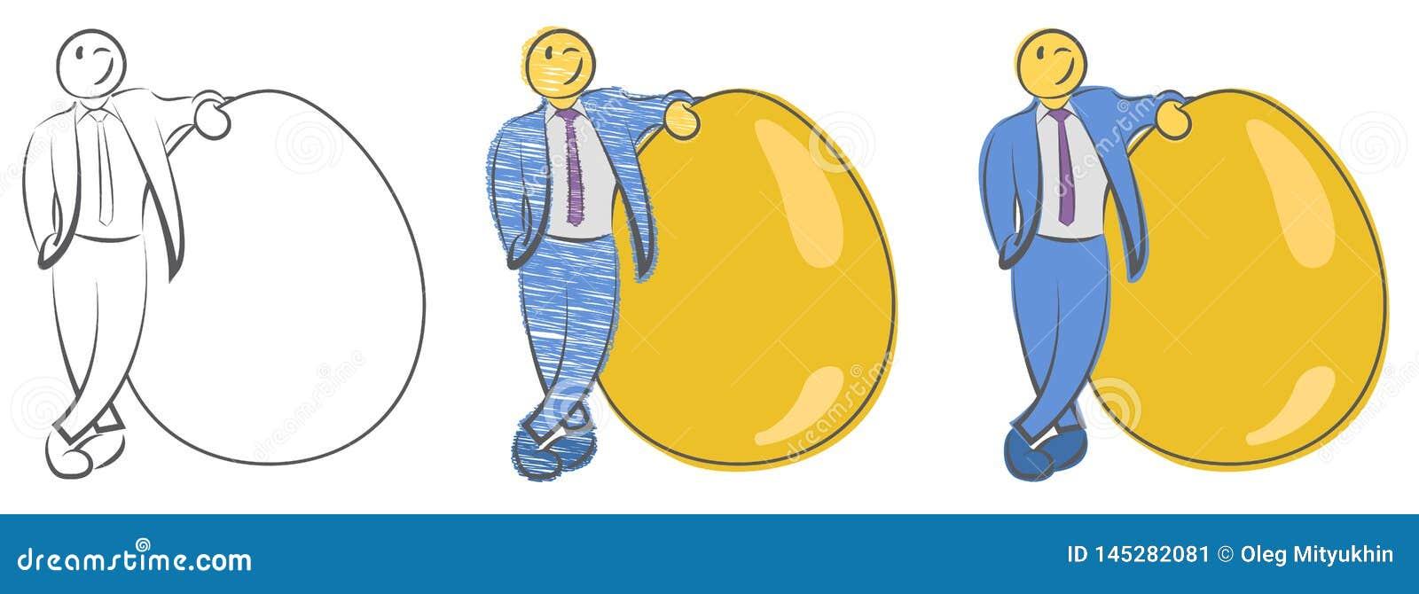 商人在大金黄鸡蛋附近站立 财富的概念 生来的领导 起动和新的企业 的投资