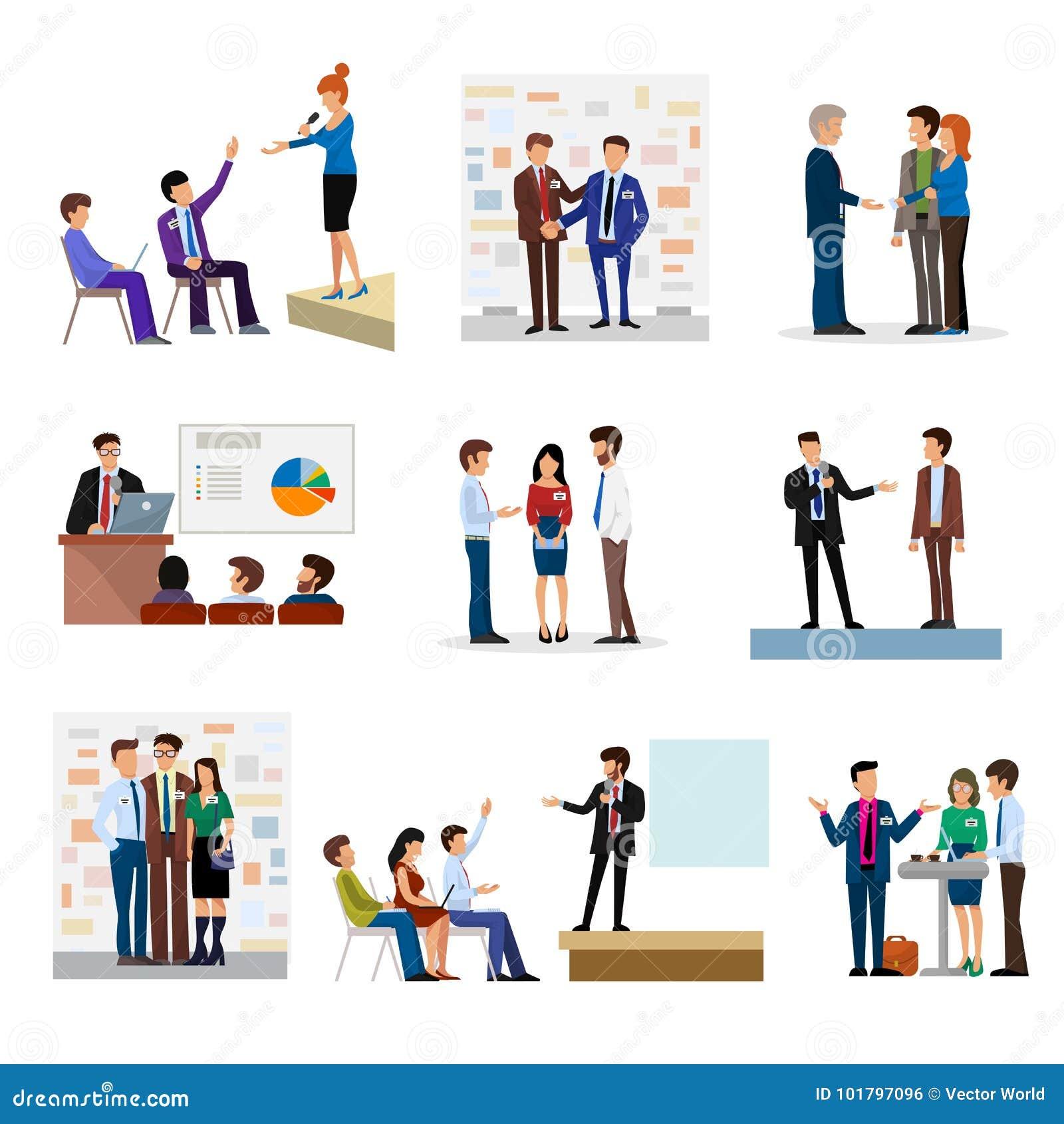 商人对投资者conferense配合会议字符的小组介绍采访传染媒介例证