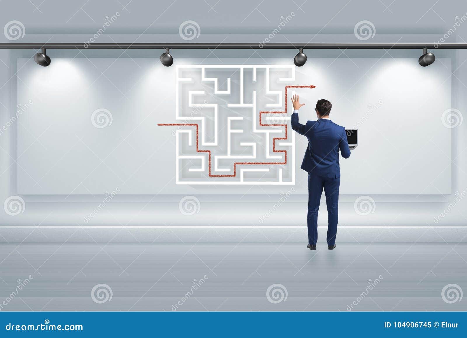 商人寻找方式从迷宫迷宫逃脱