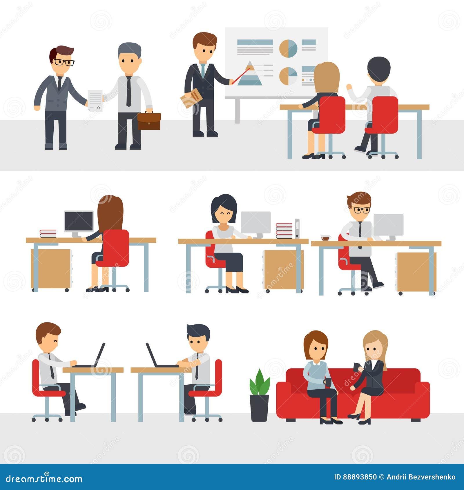 商人工作在办公室传染媒介漫画人物