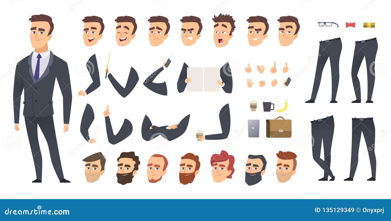 商人建设者 工友经理或企业人人关键性设计动画字符传染媒介创作成套工具