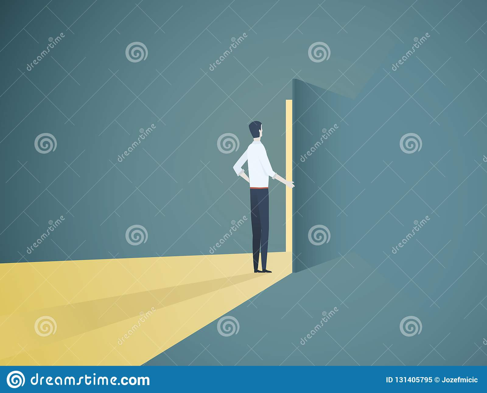 商人开门传染媒介概念 新的事业、机会、商业投机和挑战的标志