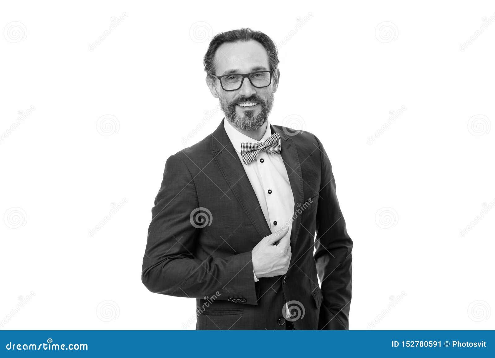 商人或主人时兴的成套装备隔绝了白色 人有胡子的行家穿经典衣服服装 正式成套装备 ??