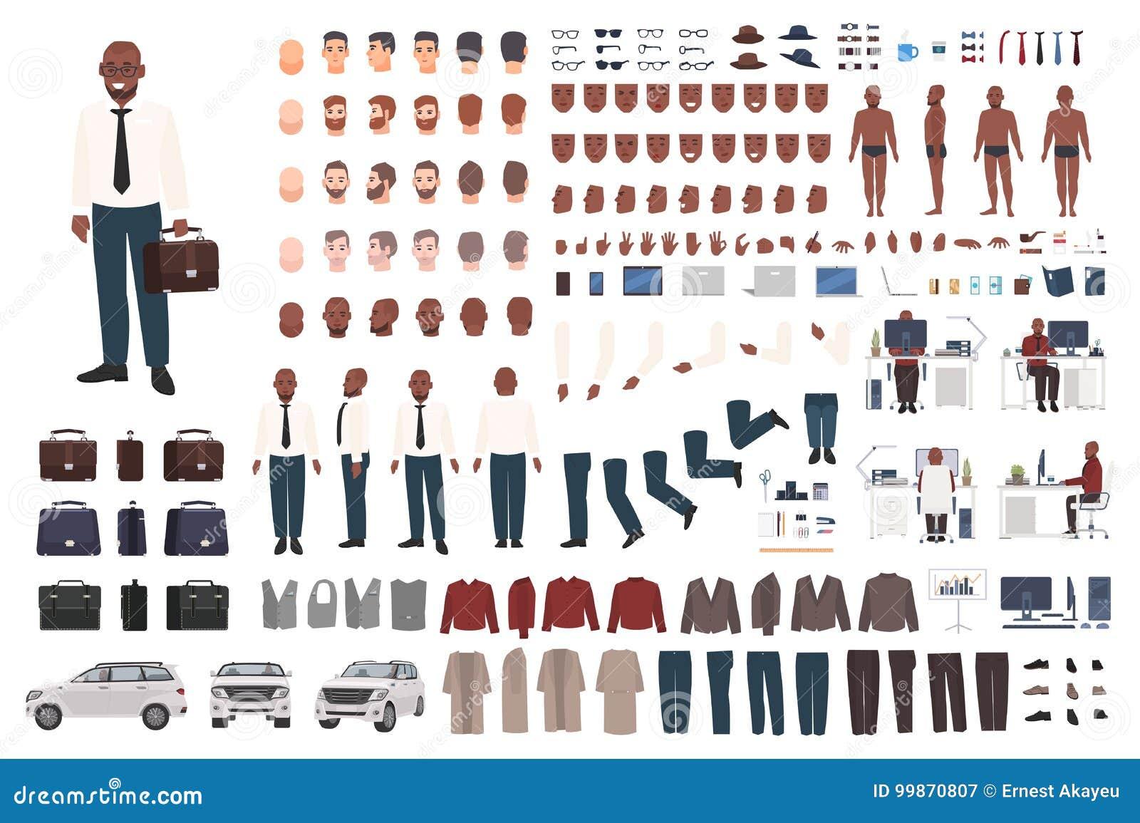 商人或办公室工作者创作成套工具 平的男性漫画人物身体局部,面部姿态的汇集,聪明