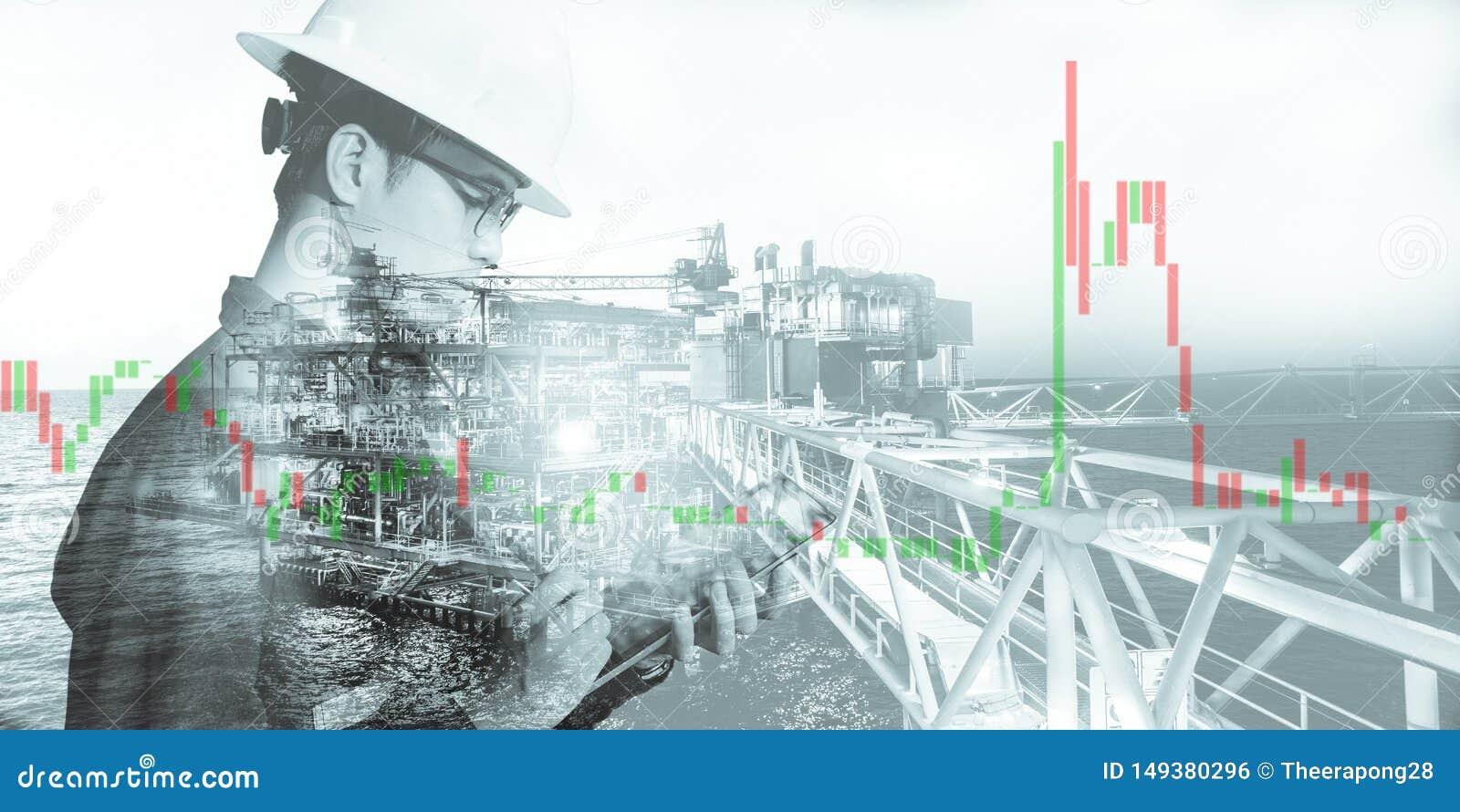 商人或工程师藏品盔甲两次曝光有近海平台和股票交易油的图背景和