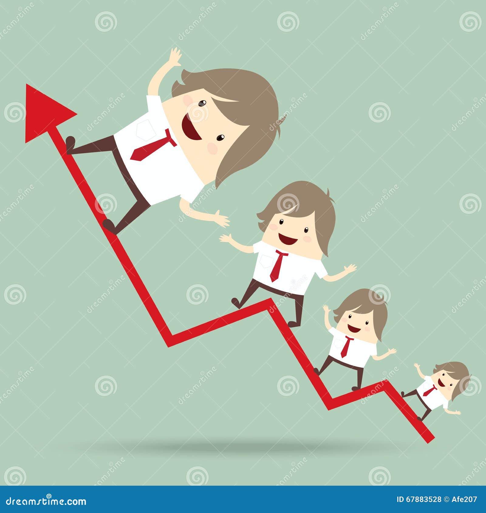商人是愉快和赛跑在红色箭头生长图表,