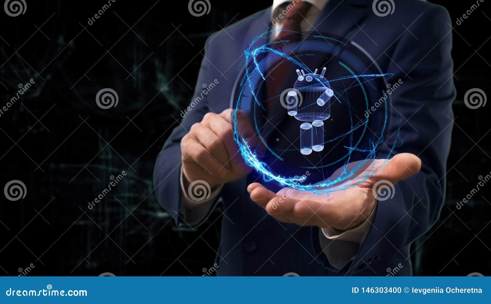 商人显示概念在他的手上的全息图3d机器人