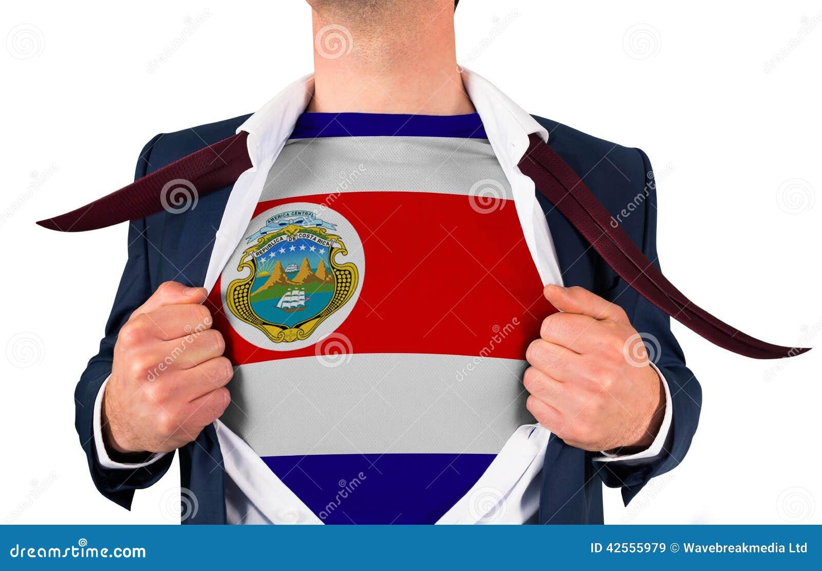 商人显露哥斯达黎加旗子的开头衬衣