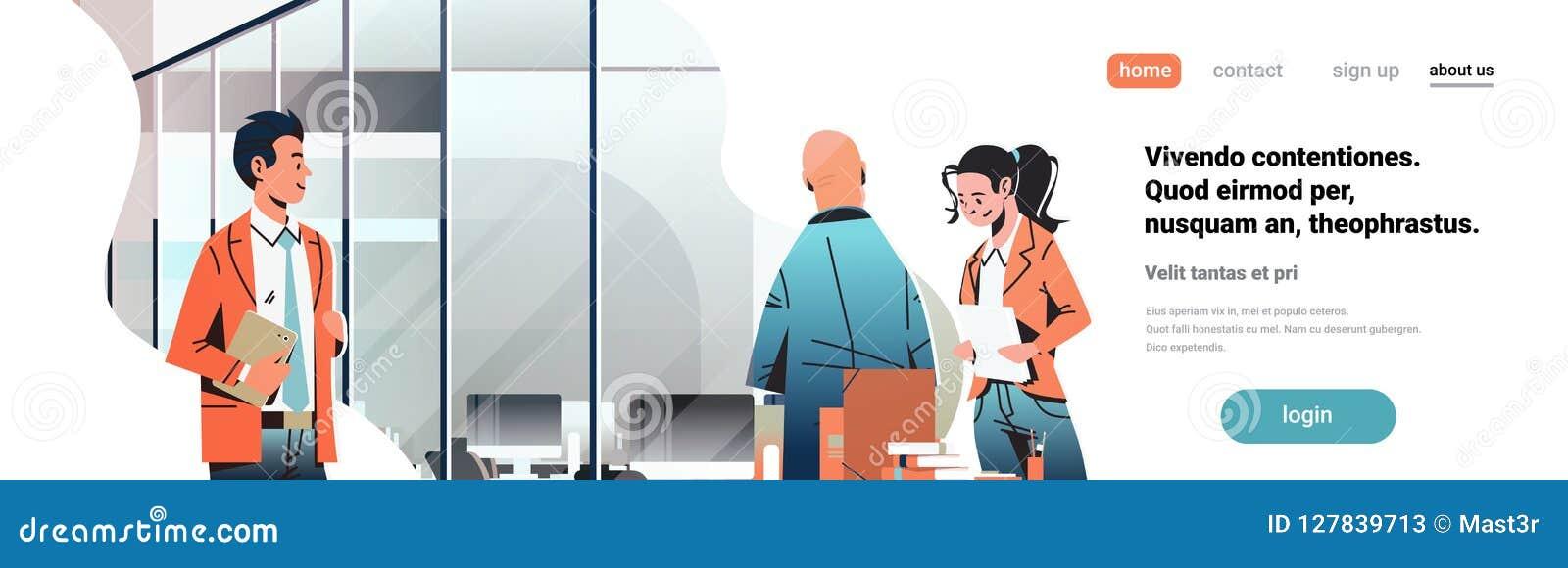 商人沟通的概念现代coworking的办公室内部创造性的工作场所男女漫画人物