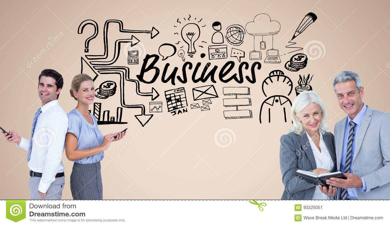 商人的数字图象有坚持企业文本和标志a的日志和巧妙的电话的