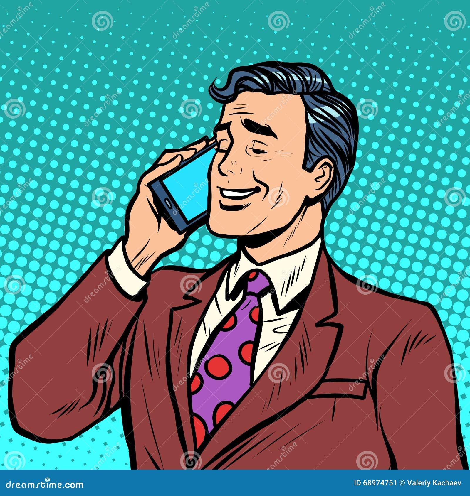 商人谈话在电话