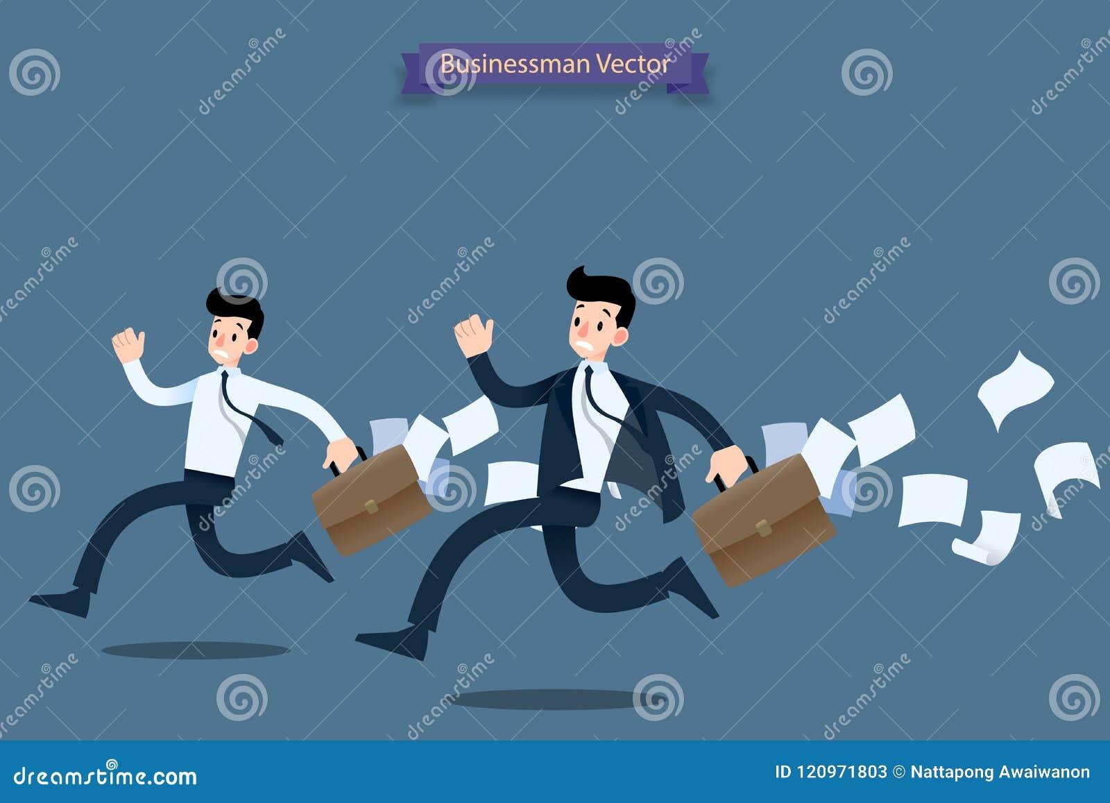 商人赛跑仓促急忙由后与后边手提箱一起使用和落的非常繁忙纸和的感受