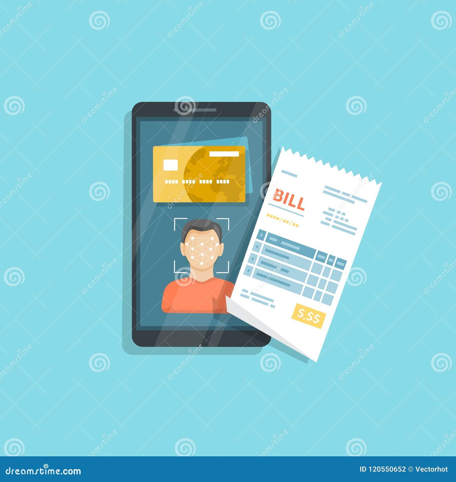 商品和服务的付款使用面貌识别和证明,在智能手机的面孔ID 网上票据付款通过电话