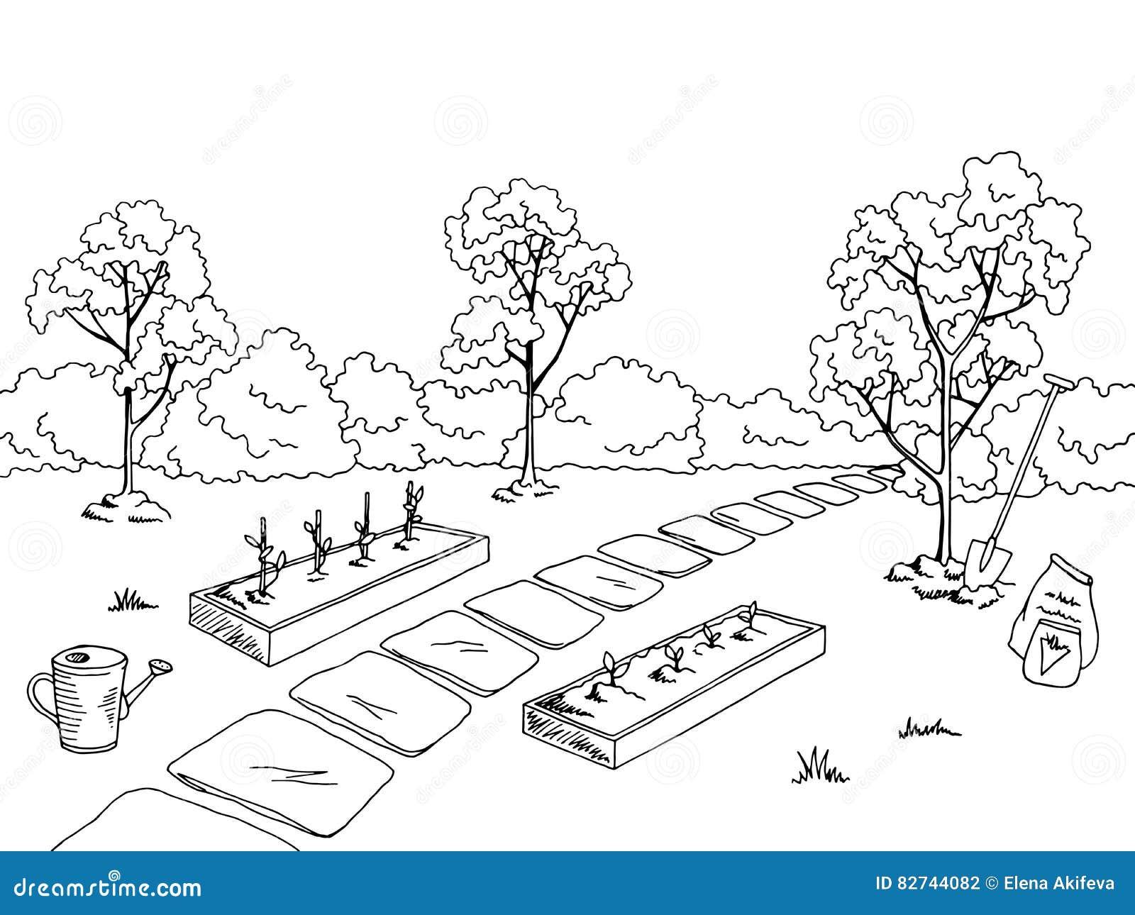 商品菜园图表黑白色风景剪影例证