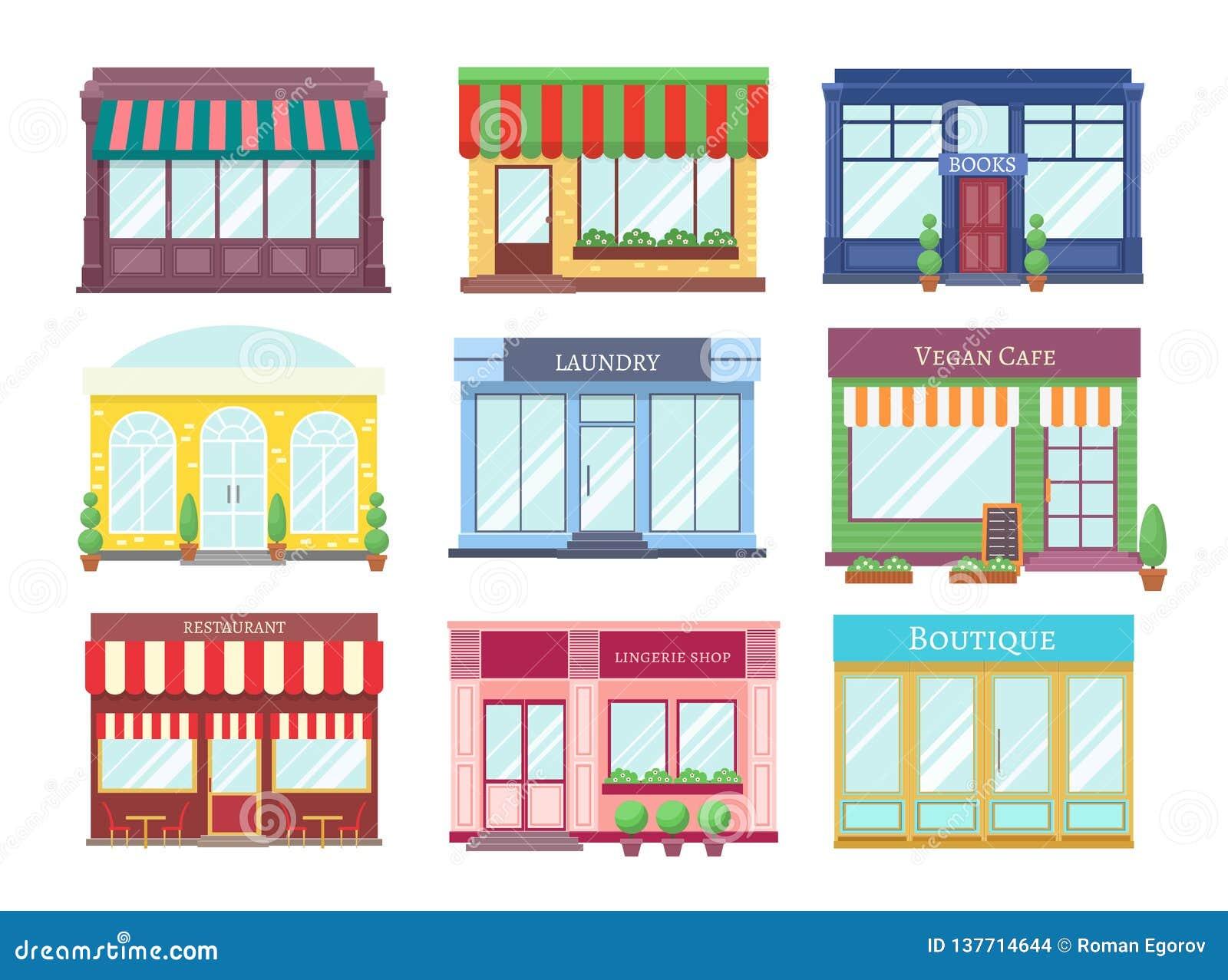 商店平的大厦 动画片与陈列室精品店零售修造的店面餐馆房子的商店门面 购物