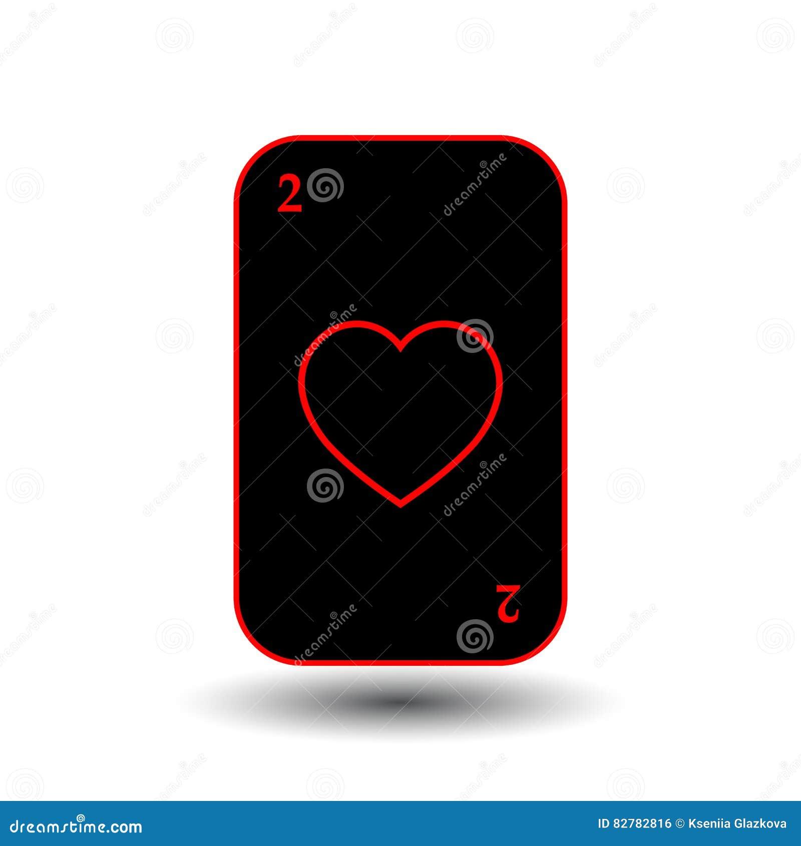 啤牌卡片 两黑心脏 分开的白色背景