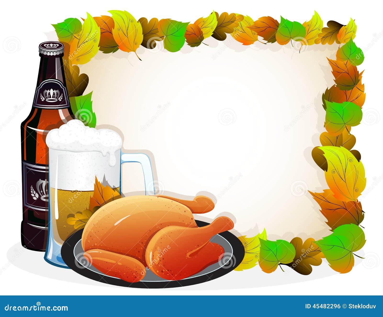 啤酒和炸鸡与秋叶